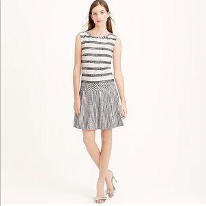 J. Crew Tweed-striped drop-waist dress